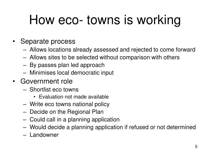How eco- towns is working