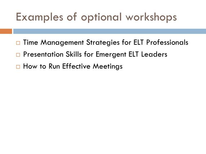 Examples of optional workshops