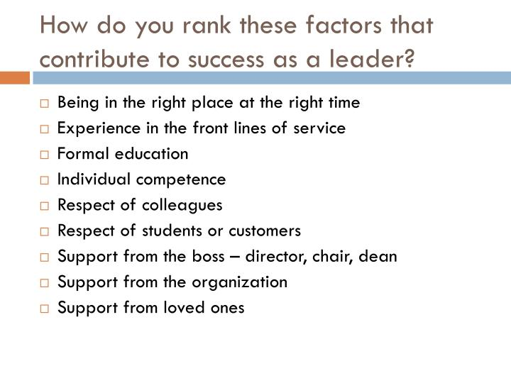 How do you rank these factors that contribute to success as a leader?