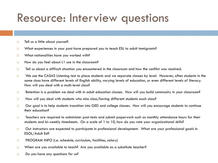 Resource: Interview questions
