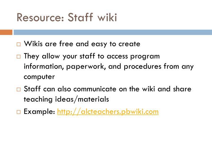 Resource: Staff wiki