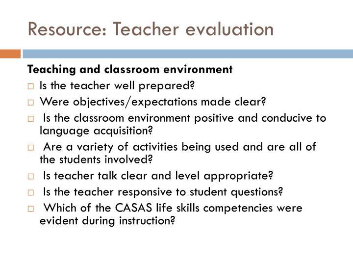 Resource: Teacher evaluation