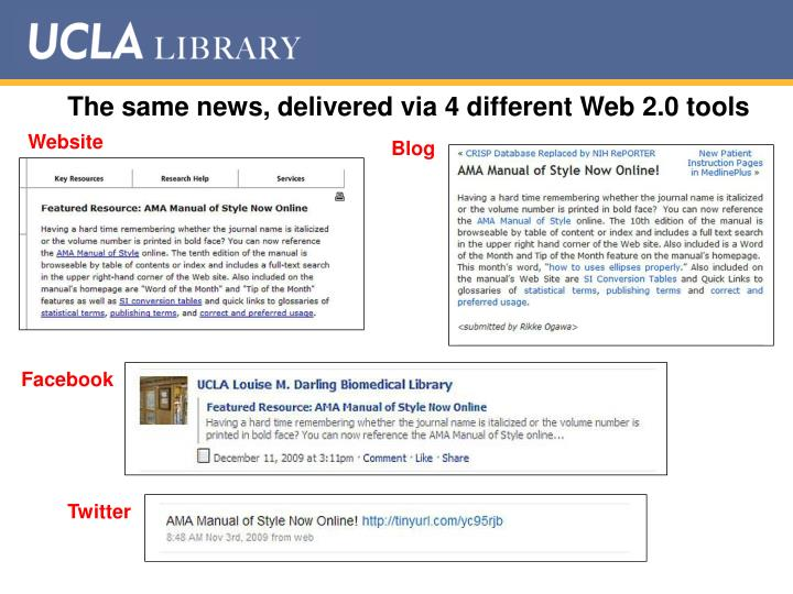 The same news, delivered via 4 different Web 2.0 tools