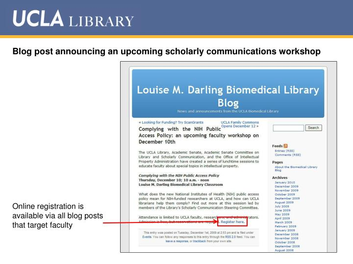 Blog post announcing an upcoming scholarly communications workshop