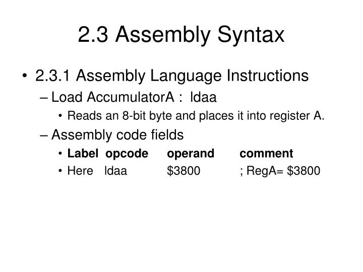 2.3 Assembly Syntax