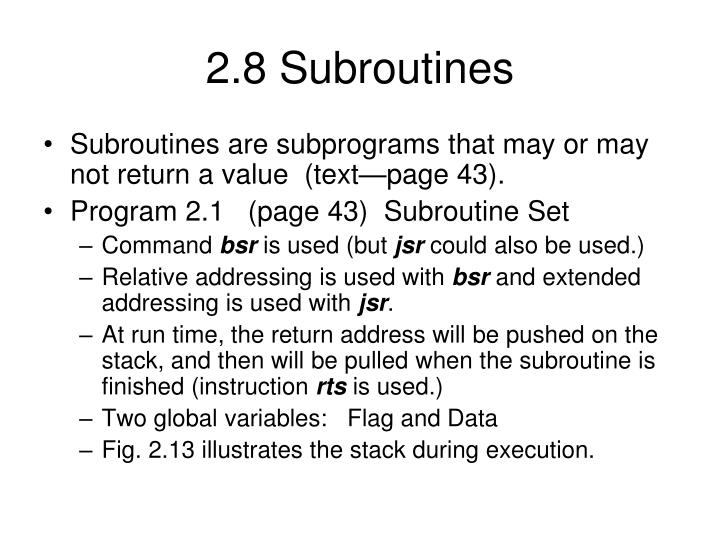 2.8 Subroutines