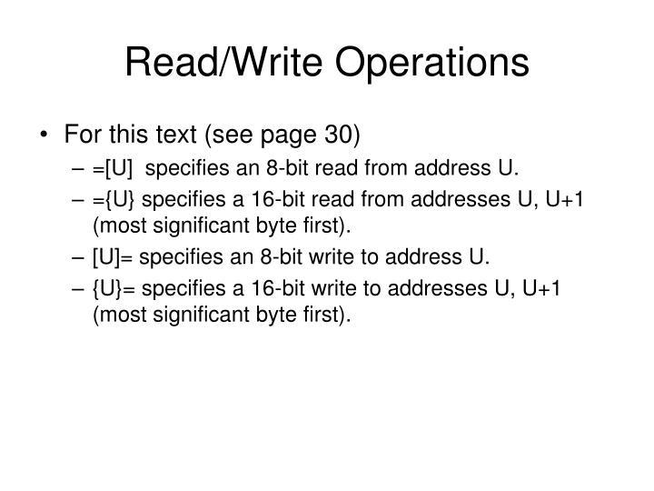 Read/Write Operations