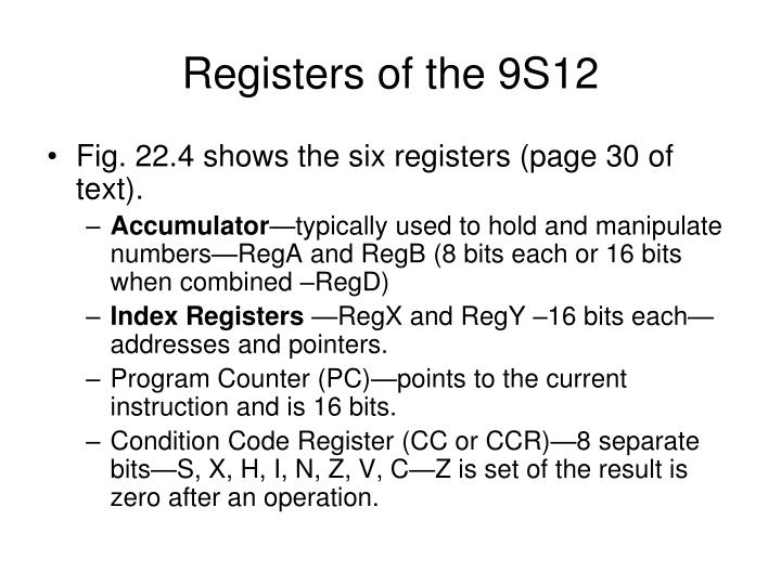 Registers of the 9S12