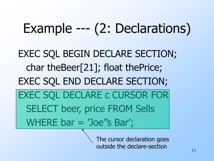 The cursor declaration goes