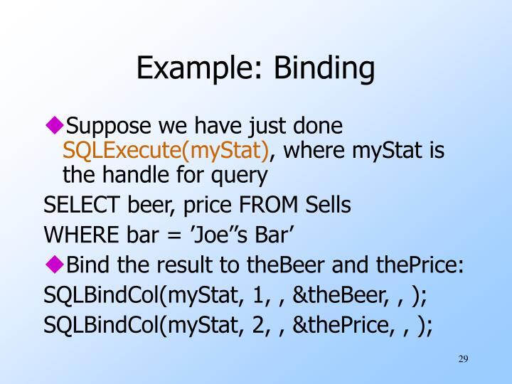 Example: Binding