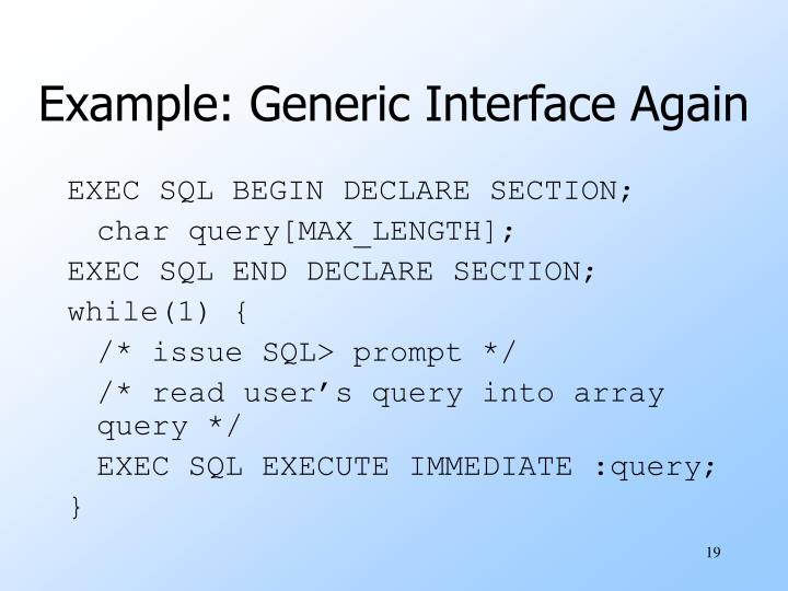 Example: Generic Interface Again