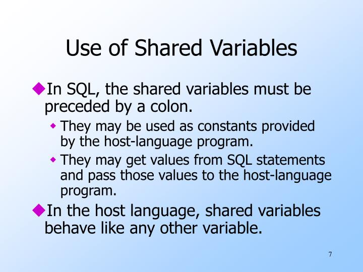 Use of Shared Variables