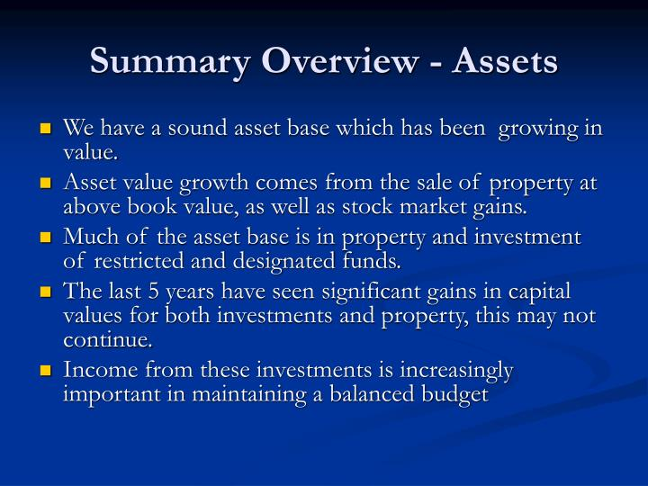 Summary Overview - Assets