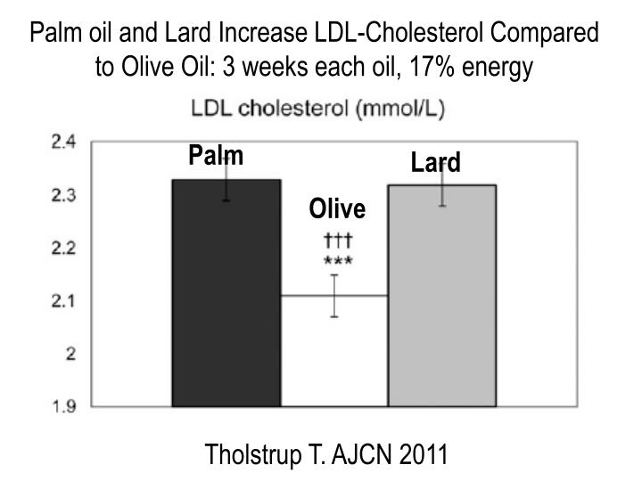Palm oil and Lard Increase LDL-Cholesterol Compared to Olive Oil: 3 weeks each oil, 17% energy