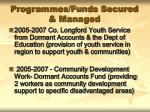 programmes funds secured managed2