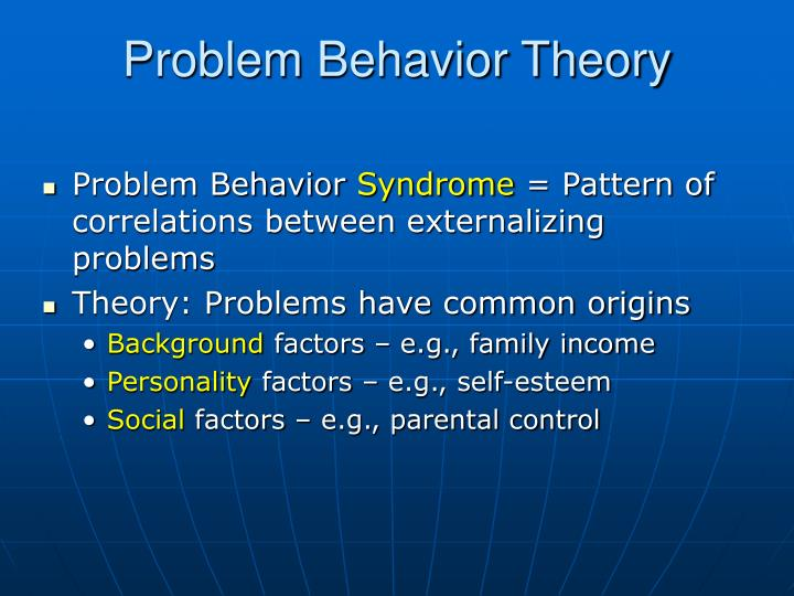 problem behavior syndrome essay Problem-behavior theory suggests that there are environmental, personality, and behavior factors that can influence or protect an adolescent from problem behaviors.