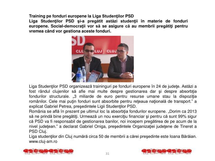Training pe fonduri europene la Liga Studenţilor PSD