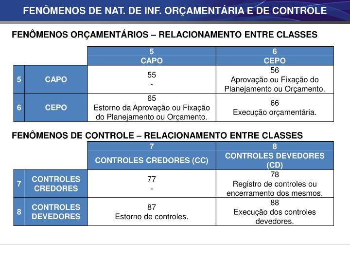 FENÔMENOS DE NAT. DE INF. ORÇAMENTÁRIA E DE CONTROLE
