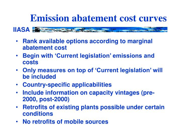 Emission abatement cost curves