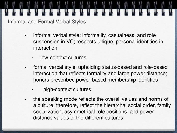 Informal and Formal Verbal Styles
