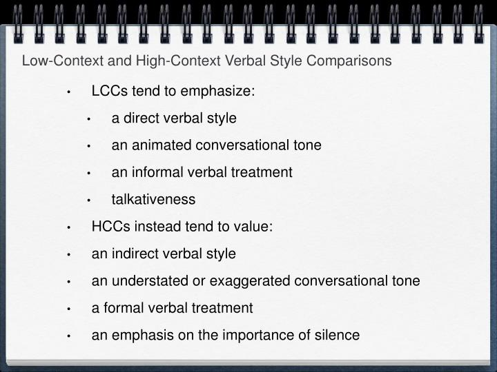 Low-Context and High-Context Verbal Style Comparisons