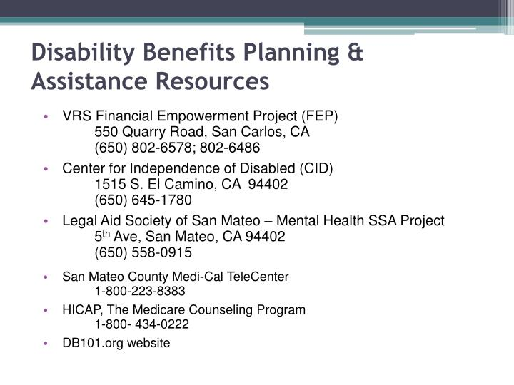 Disability Benefits Planning & Assistance Resources