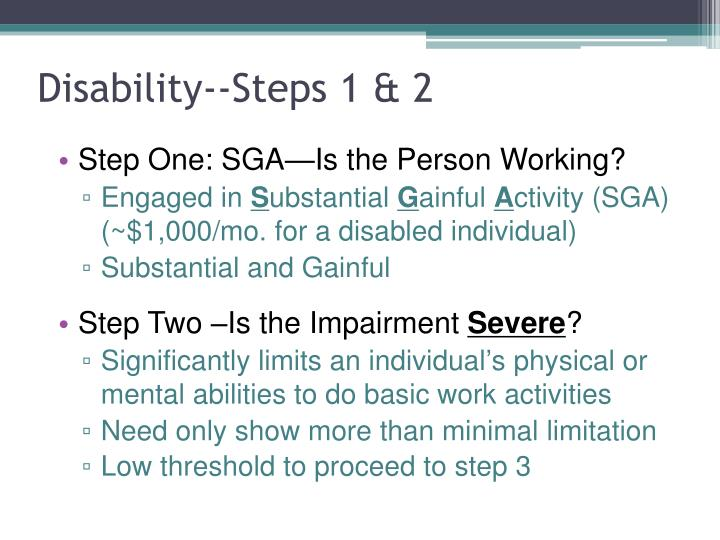 Disability--Steps 1 & 2