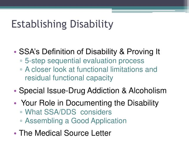 Establishing Disability