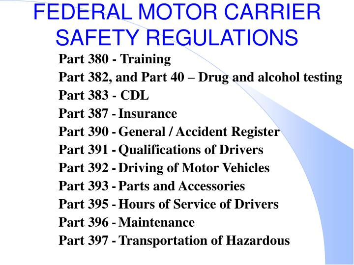 section 391 of the federal motor carrier safety