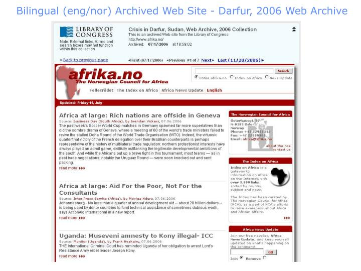 Bilingual (eng/nor) Archived Web Site - Darfur, 2006 Web Archive