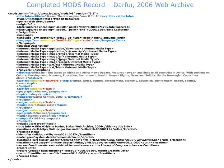 Completed MODS Record – Darfur, 2006 Web Archive