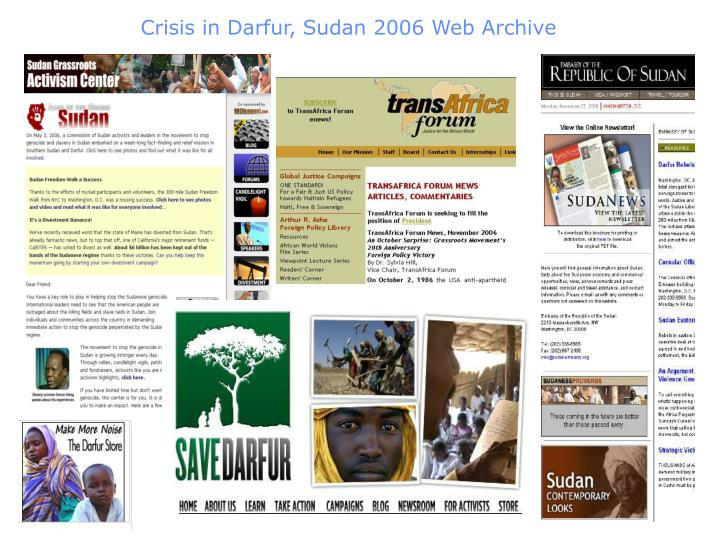 Crisis in Darfur, Sudan 2006 Web Archive