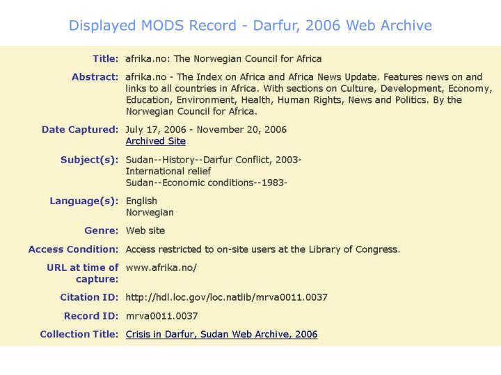 Displayed MODS Record - Darfur, 2006 Web Archive