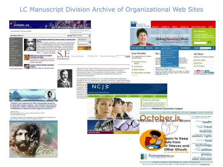 LC Manuscript Division Archive of Organizational Web Sites