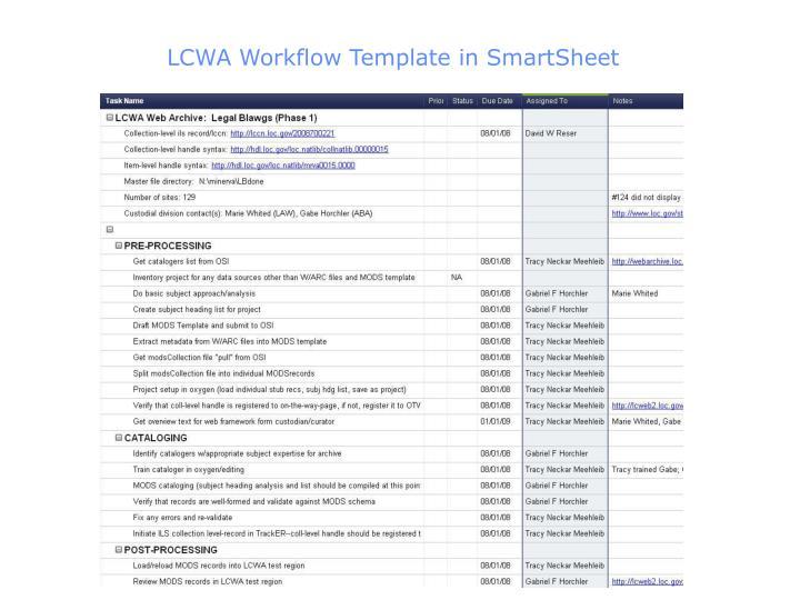 LCWA Workflow Template in SmartSheet