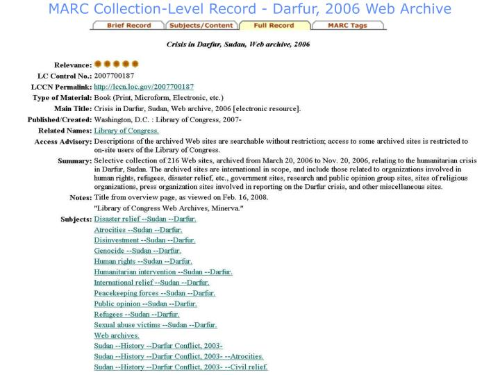 MARC Collection-Level Record - Darfur, 2006 Web Archive