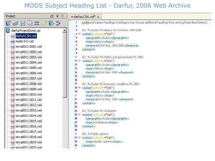 MODS Subject Heading List - Darfur, 2006 Web Archive