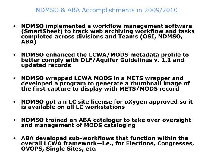 NDMSO & ABA Accomplishments in 2009/2010