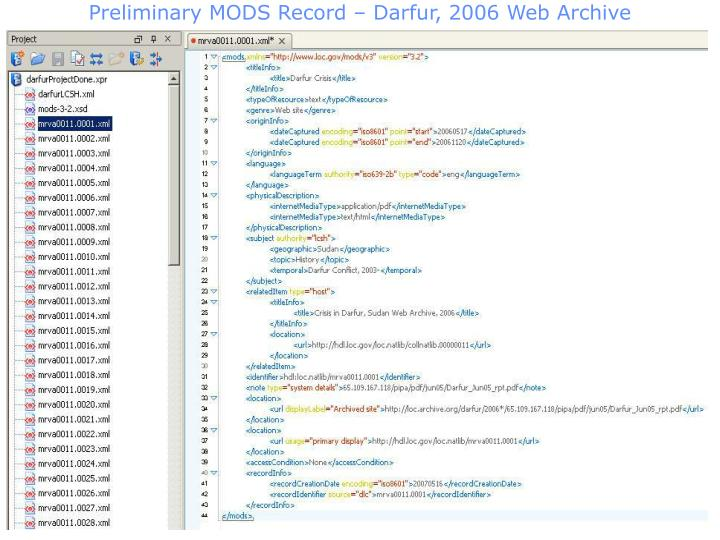 Preliminary MODS Record – Darfur, 2006 Web Archive