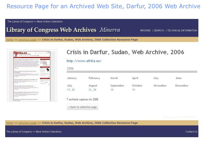 Resource Page for an Archived Web Site, Darfur, 2006 Web Archive