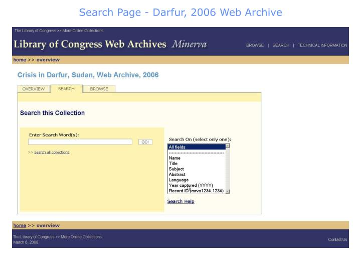 Search Page - Darfur, 2006 Web Archive