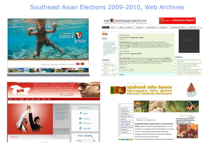 Southeast Asian Elections 2009-2010, Web Archives
