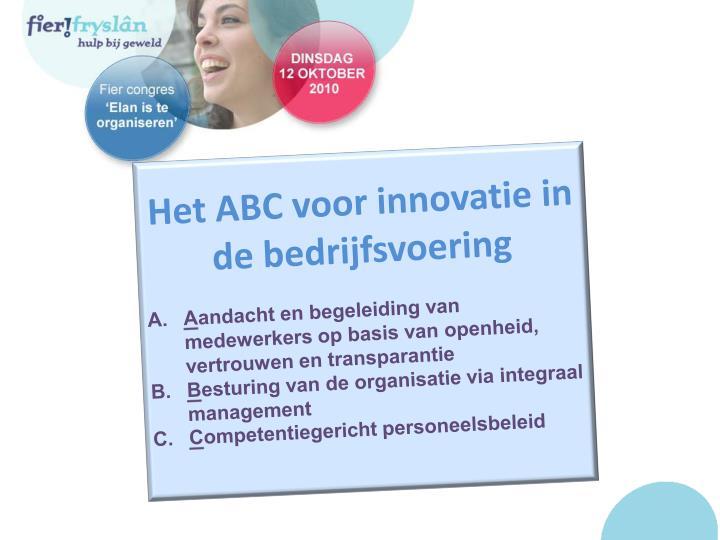 Het ABC voor innovatie in de bedrijfsvoering