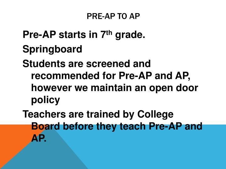 Pre-AP to AP