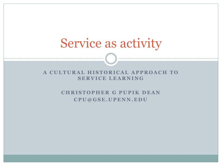 service as activity n.