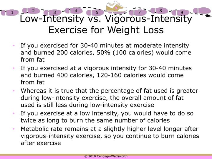 Low-Intensity vs. Vigorous-Intensity Exercise for Weight Loss