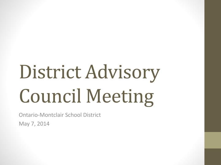 district advisory council meeting n.
