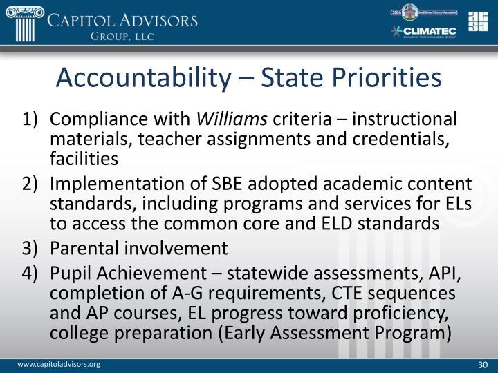 Accountability – State Priorities