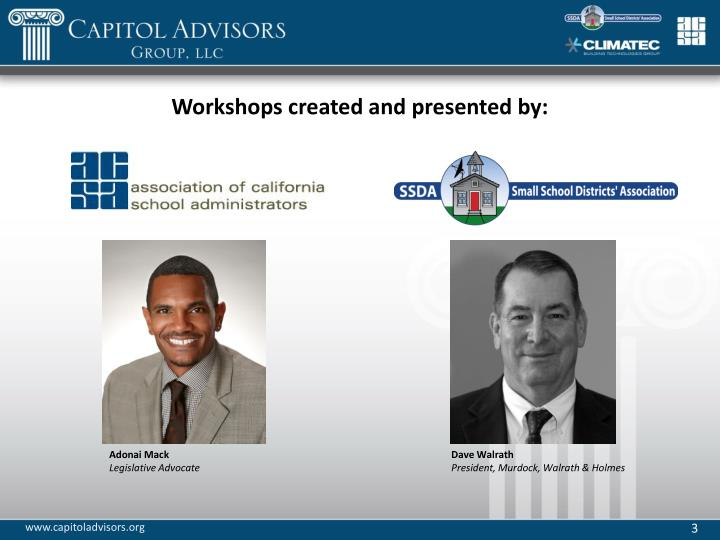 Workshops created and presented by