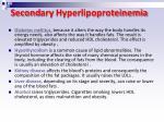 second a ry hyperlipoproteinemia